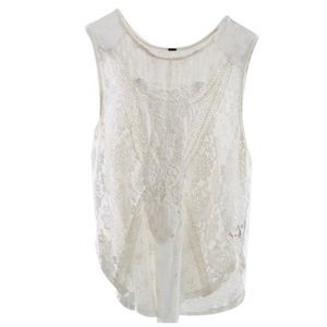 Free People Cream Crochet Lace Front Tank/ Cami